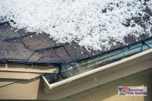 hail on edge of roof