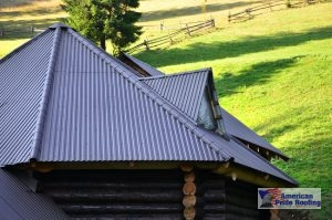 gray vertical metal paneled roof on log home