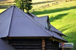 gray vertical metal paneled roof on log home