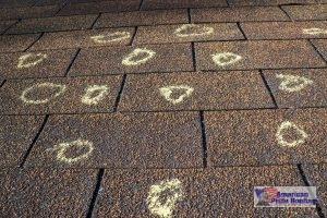 circled marks of hail damage on roof