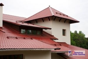 red synthetic tile roof