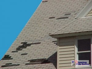 shingles missing on roof from wind damage